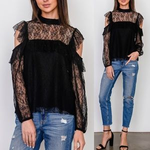 ✨Restock✨ Lace Ruffle Cold Shoulder Blouse Top